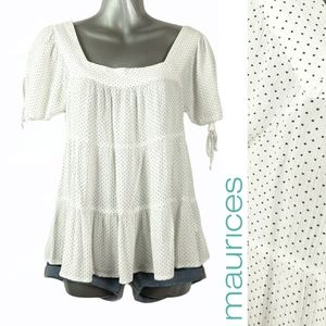 Maurices Polka Dot Tie Sleeve Square Neck Top XS